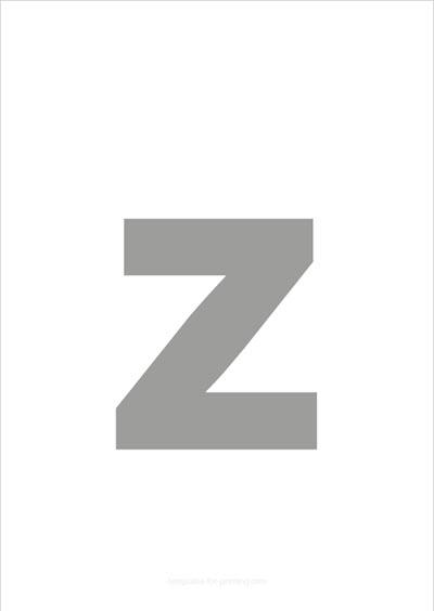 z lower case letter gray