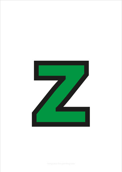 z lower case letter green with black contours