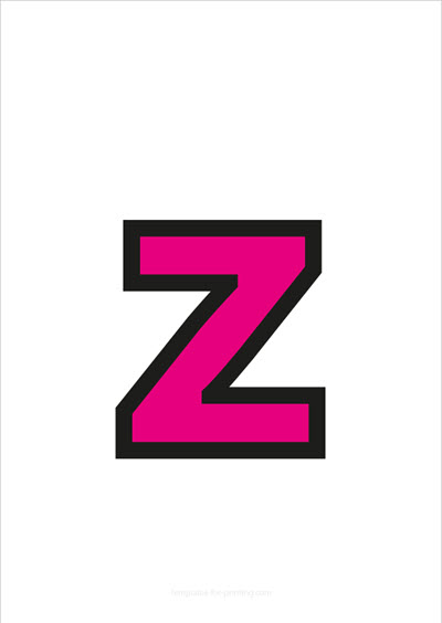 z lower case letter pink with black contours