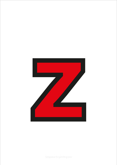 z lower case letter red with black contours