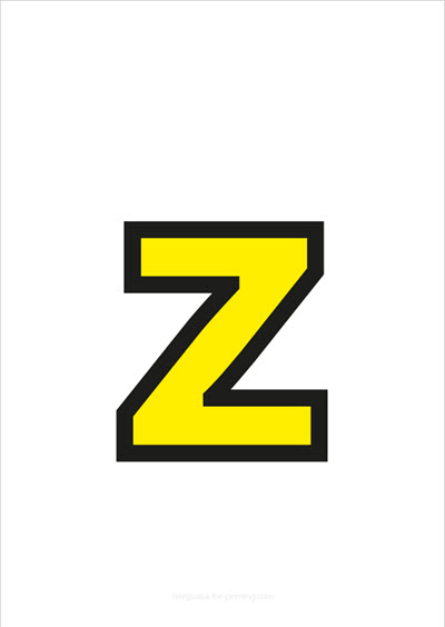 z lower case letter yellow with black contours