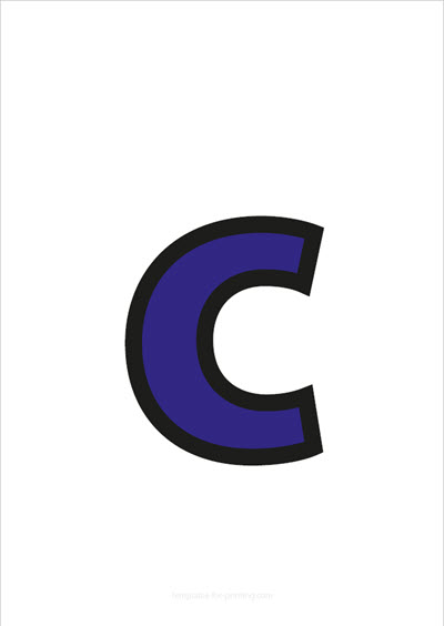 c lower case letter blue with black contours