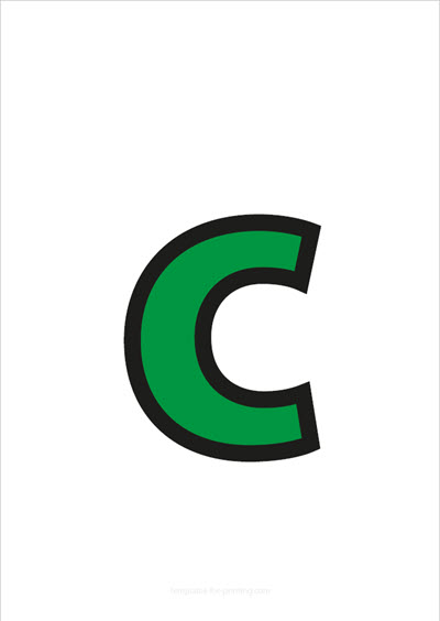 c lower case letter green with black contours