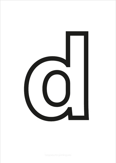 d lower case letter black only contour