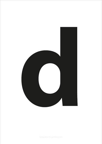 d lower case letter black