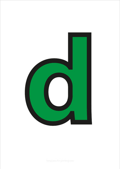 d lower case letter green with black contours