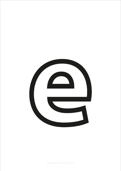 e lower case letter black only contour