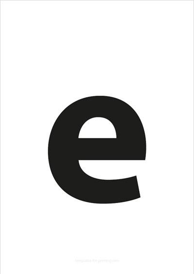 e lower case letter black