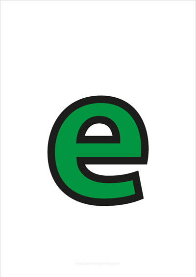 e lower case letter green with black contours