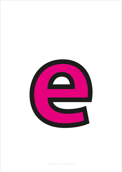 e lower case letter pink with black contours
