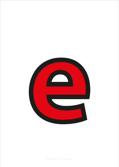 e lower case letter red with black contours