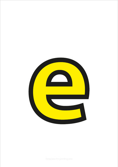 e lower case letter yellow with black contours