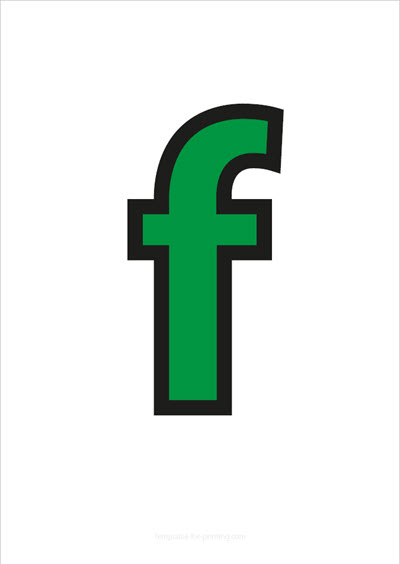 f lower case letter green with black contours