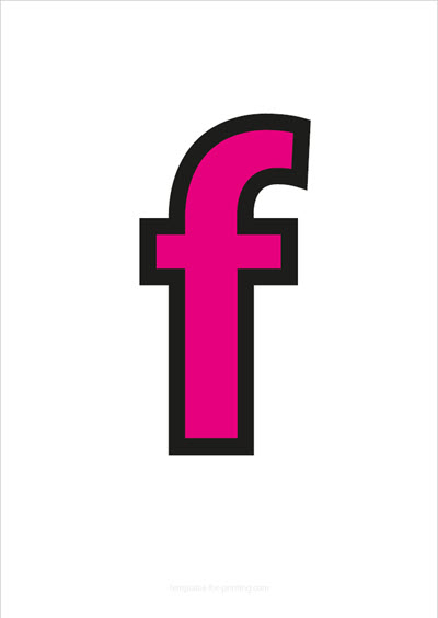 f lower case letter pink with black contours