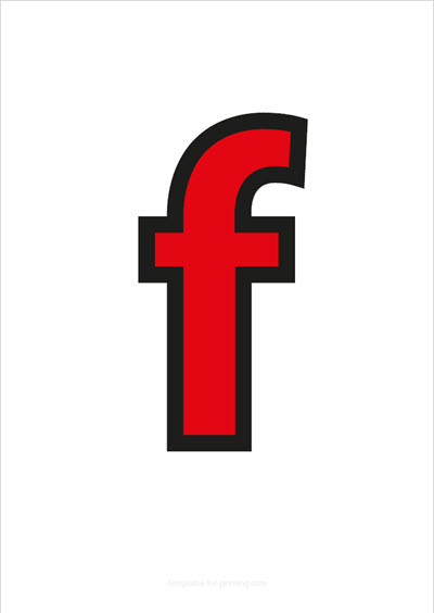 f lower case letter red with black contours