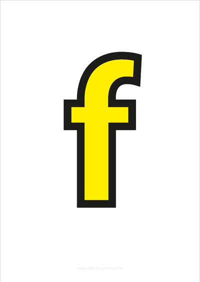 f lower case letter yellow with black contours