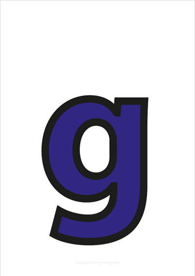 g lower case letter blue with black contours