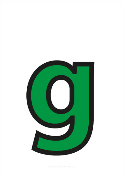 g lower case letter green with black contours
