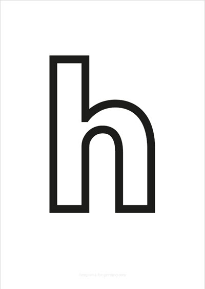 h lower case letter black only contour