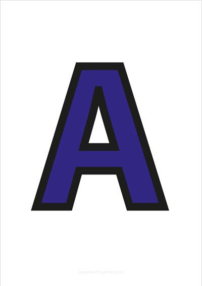 A Capital Letter Blue with black contours
