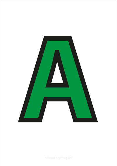 A Capital Letter Green with black contours