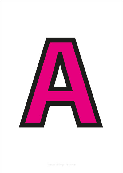 A Capital Letter Pink with black contours