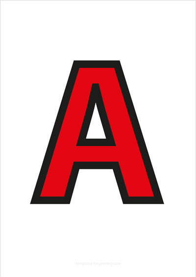 A Capital Letter Red with black contours