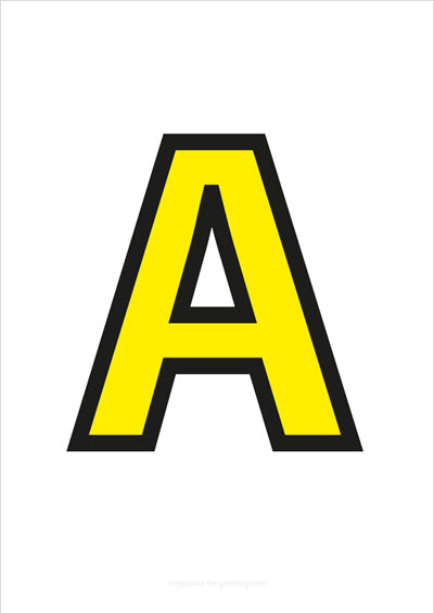 A Capital Letter Yellow with black contours
