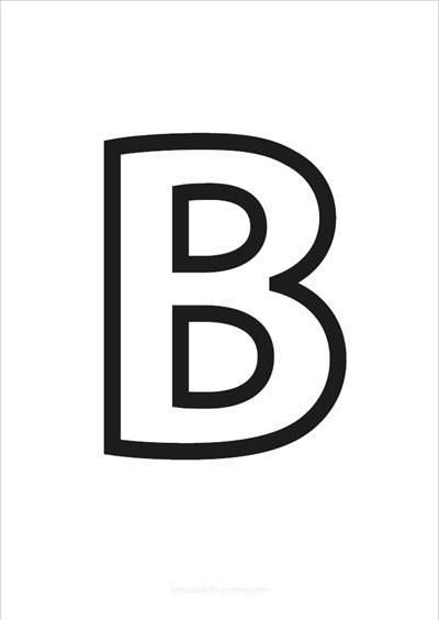 B Capital Letter Black only contours