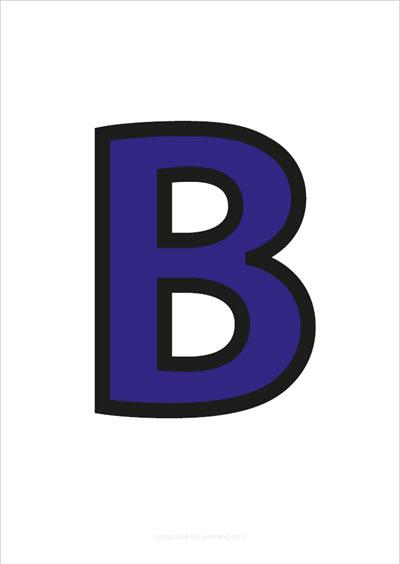 B Capital Letter Blue with black contours