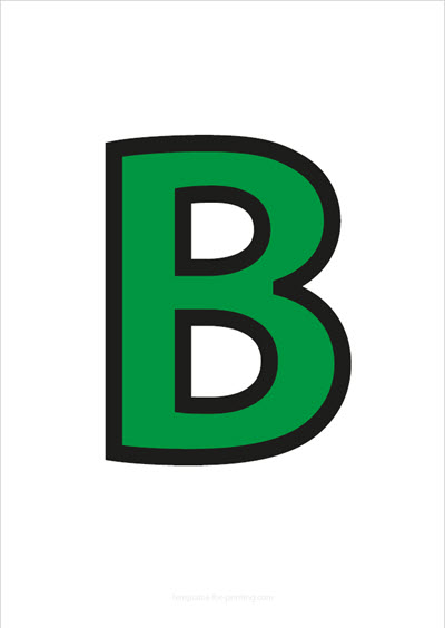 B Capital Letter Green with black contours