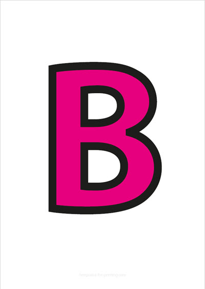 B Capital Letter Pink with black contours