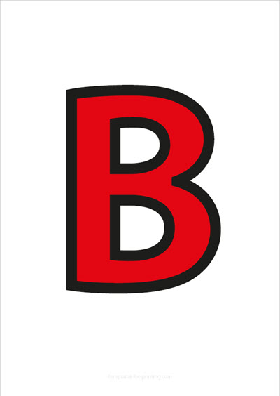 B Capital Letter Red with black contours