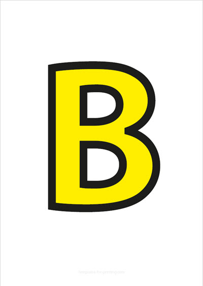 B Capital Letter Yellow with black contours