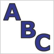Blue Capital letters with black contours