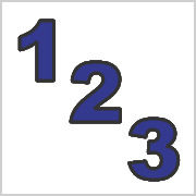 Blue numbers with black contours