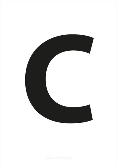 C Capital Letter Black A4