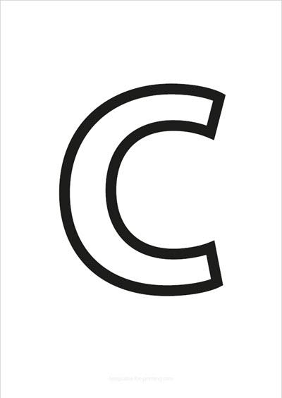 C Capital Letter Black only contours