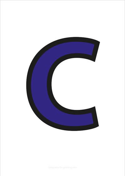 C Capital Letter Blue with black contours