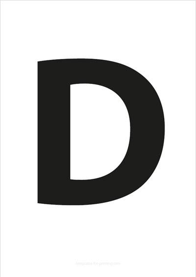 D Capital Letter Black A4