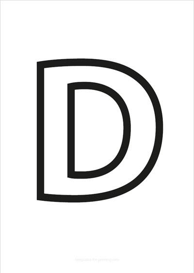 D Capital Letter Black only contours