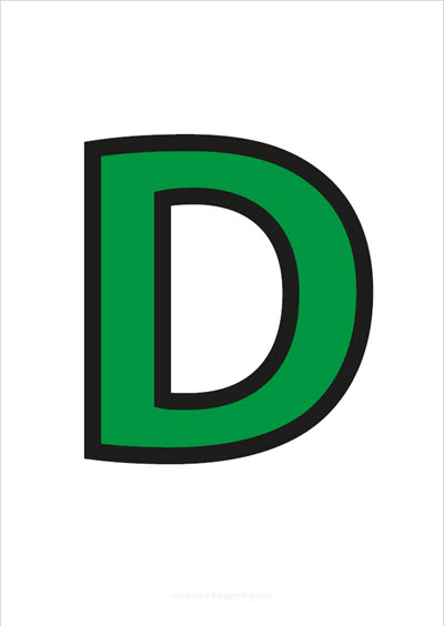 D Capital Letter Green with black contours