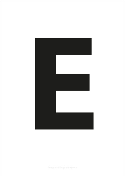 E Capital Letter Black A4