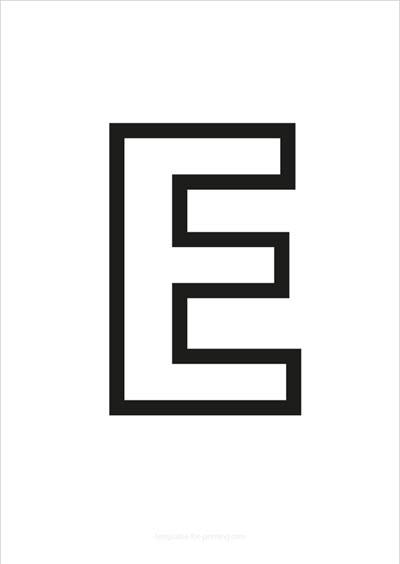 E Capital Letter Black only contours