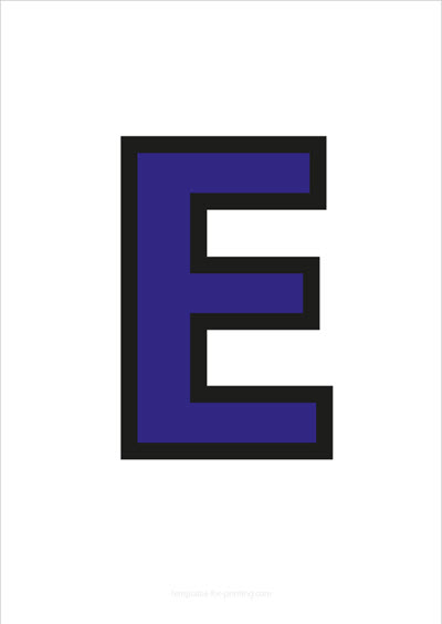 E Capital Letter Blue with black contours