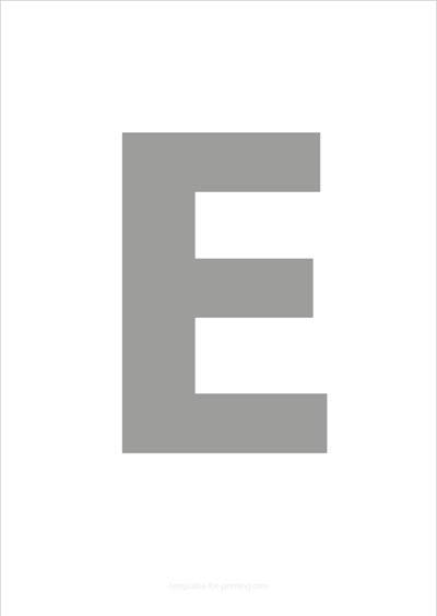 E Capital Letter Gray