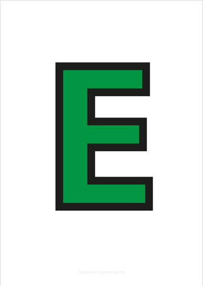 E Capital Letter Green with black contours