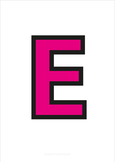E Capital Letter Pink with black contours