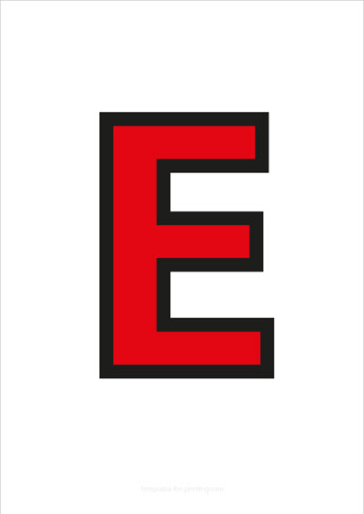 E Capital Letter Red with black contours