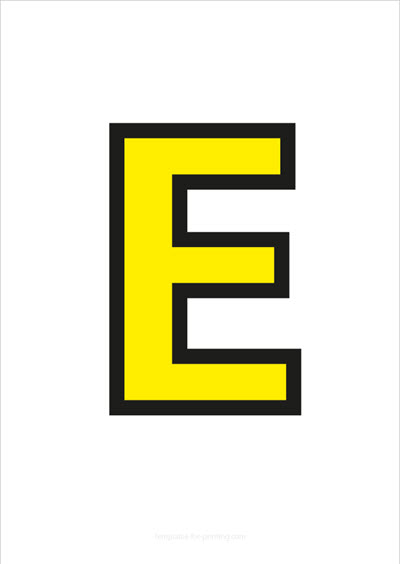 E Capital Letter Yellow with black contours